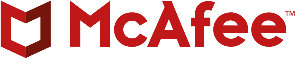 The logo for McAfee.