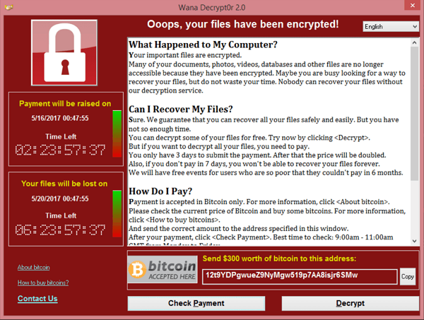 A screenshot showing an example of the ransomware strain WannaCry.