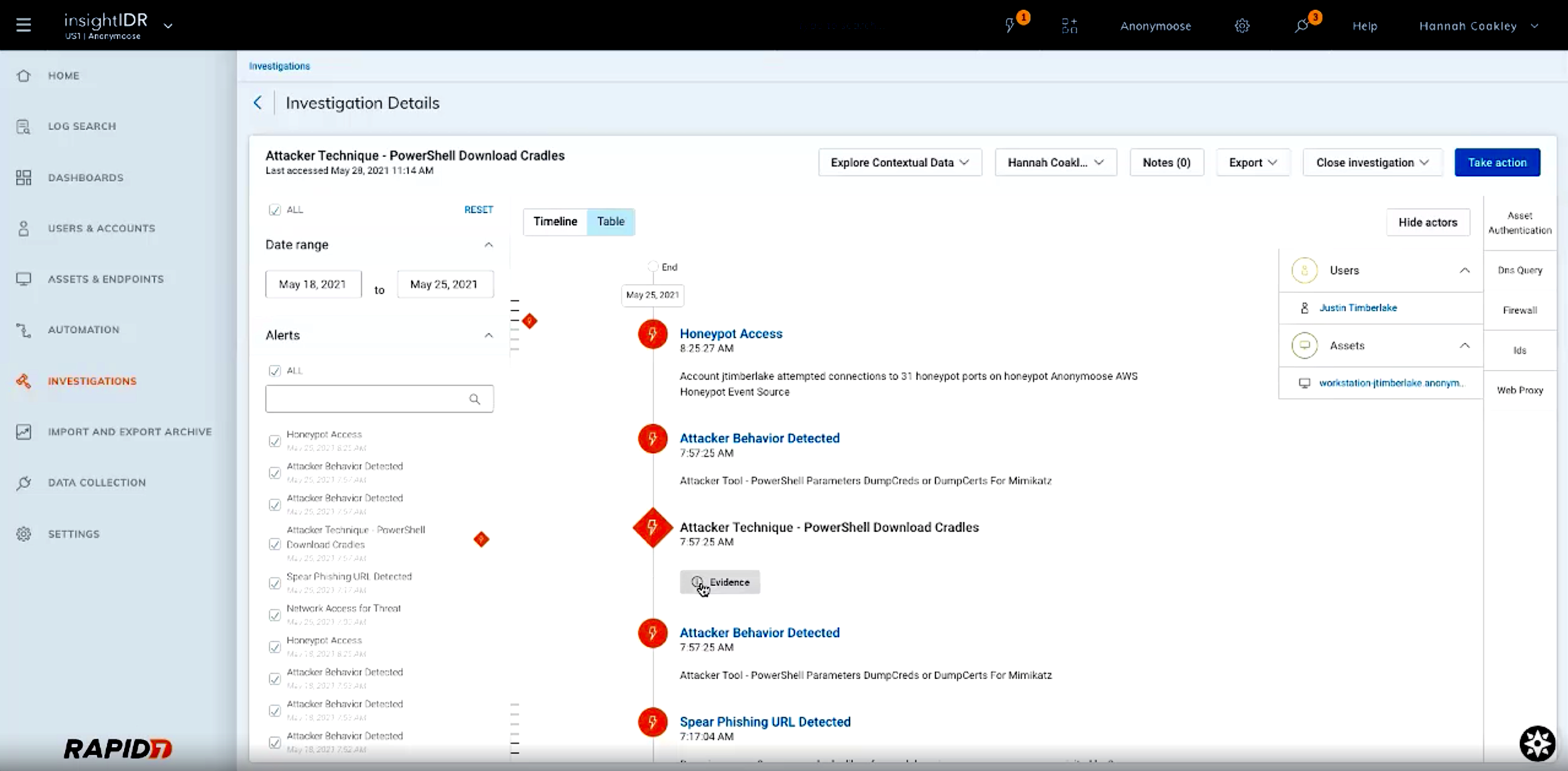 Administrators can dive into specific investigation details reviewing associated web traffic for a time range, review evidence, and analyze events in InsightIDR.