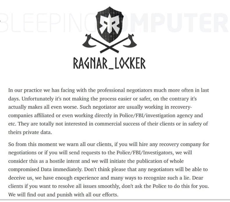 ragnar locker threat